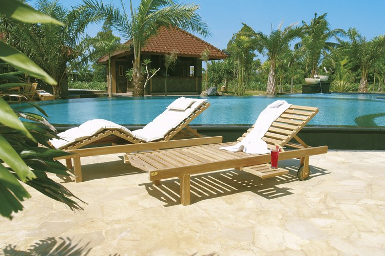 caracas sunbed teak wood centro mobili giardino