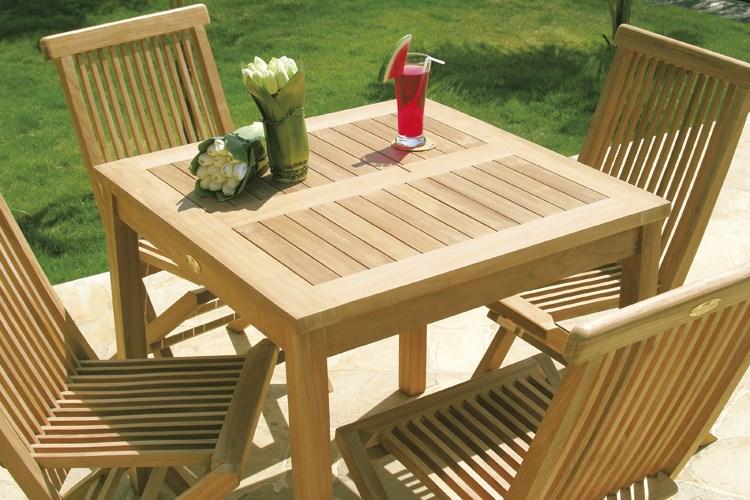 Dehors square table teak wood centro mobili giardino for Mobili giardino teak