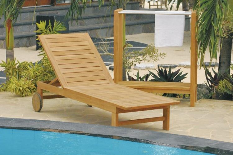 Ipanema sunbed teak wood centro mobili giardino for Mobili giardino teak