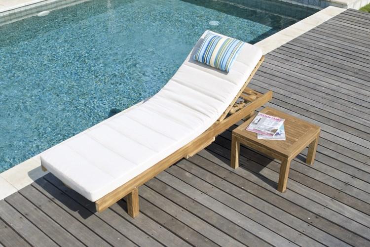 Los roques sunbed teak wood centro mobili giardino for Mobili giardino teak