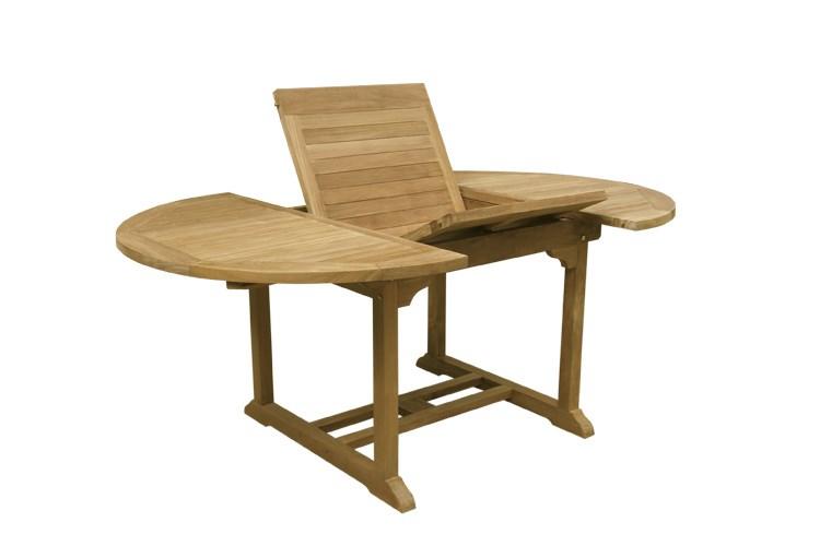 Roma round oval extending table teak wood centro mobili for Mobili giardino teak