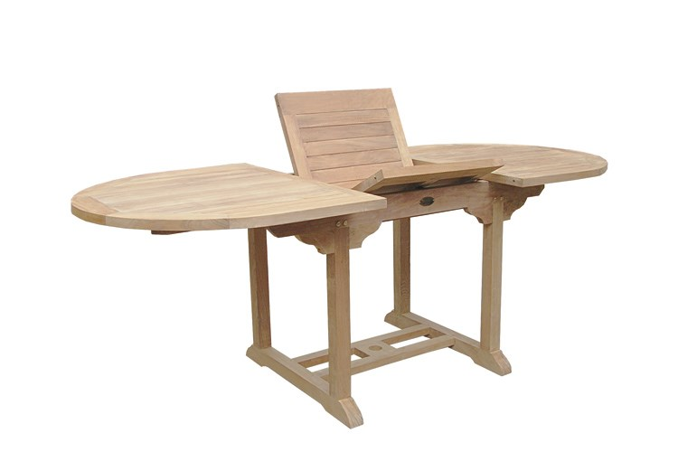 ULISSE Oval Extending Table Teak Wood Centro Mobili Giardino - Teak oval extending table