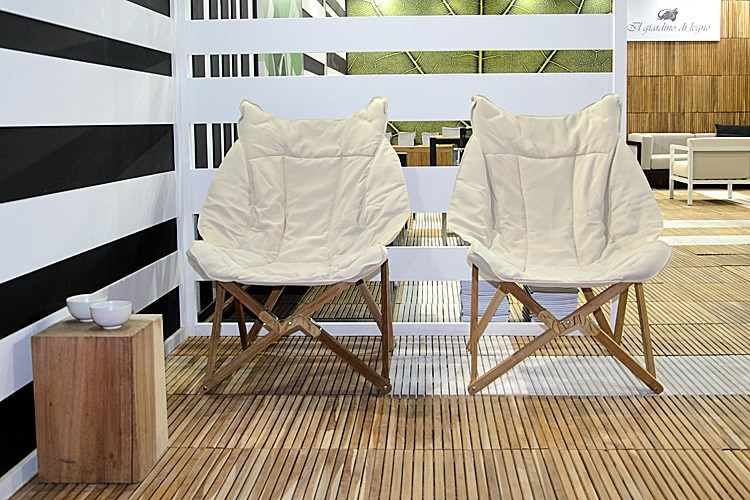 Venezia Tripolina Upholstered Folding Deckchair teak wood Centro ...