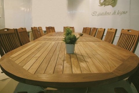 OLIMPO Oval Extending Table Teak Wood Giardino di Legno
